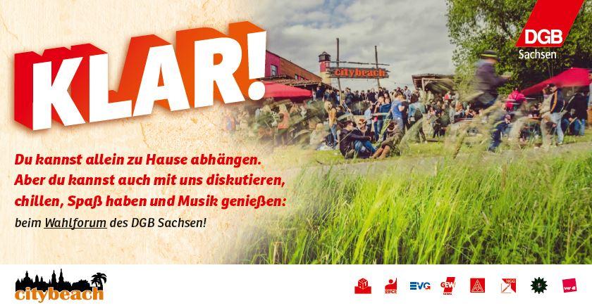 Kommt zum DGB-Wahlforum am 16. August! Es wird ein schönes Sommerfest!