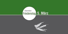 """Logo Chemnitzer Friedenstag: Schriftzug """"Chemnitzer Friedenstag in weißem Kreis auf horizontal grün-grau geteiltem Grund. darunter ein stilisierter Engel."""