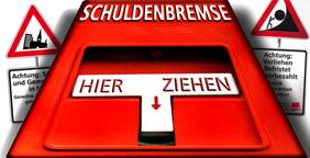 """Grafik: Notbremse mit der Aufschrift """"Schuldenbremse"""" im Hintergrund Warnschilder: """"Städte und Gemeinden in Not"""" und """"Achtung! Verliehen, Befristet, Unterbezahlt"""""""