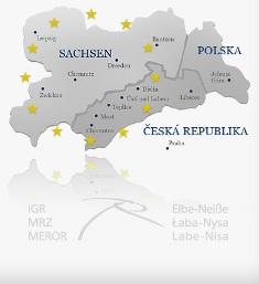 Länderkarte Sachsen und Logo IGR Elbe-Neiße