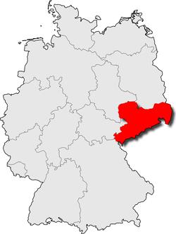 Karte der BRD, rot hervorgehoben das Bundesland Sachsen
