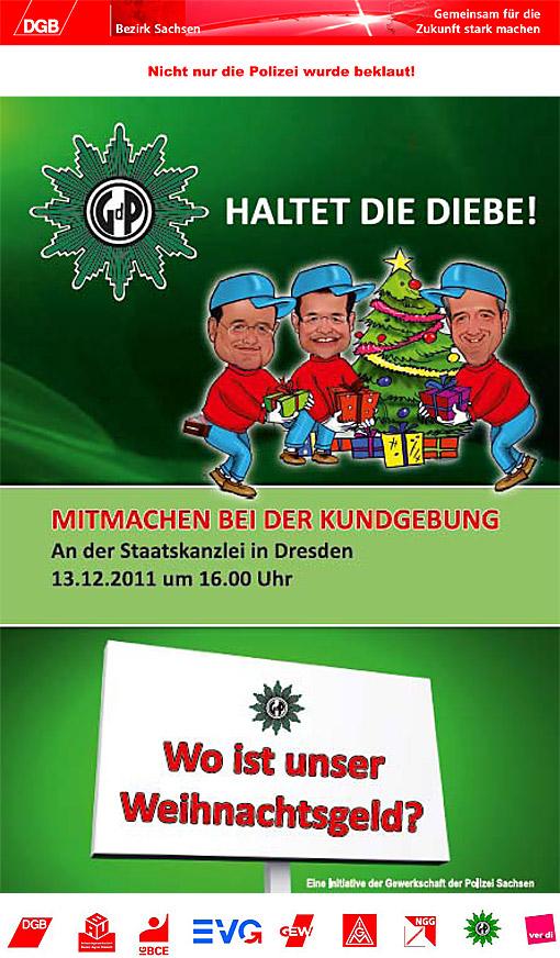 Aufruf der GdP zur Kundgebung gegen die Streichung des Weihnachtsgelds