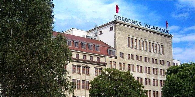 """Das """"Dresdner Volkshaus"""", das Gewerkschaftshaus am Schützenplatz in Dresden"""